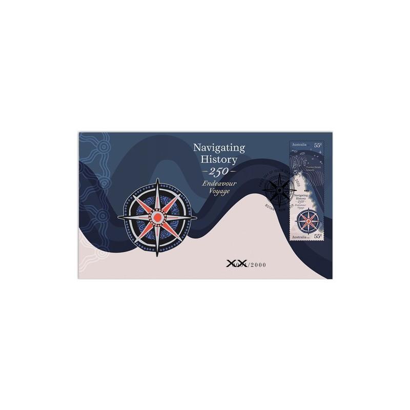 2020 Navigating History - Endeavour Voyage Medallion & Stamp Cover PNC