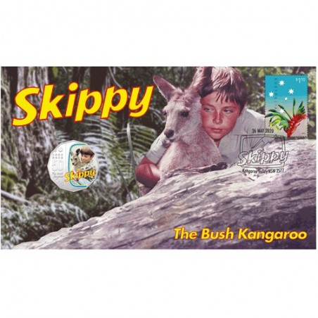 2020 50c Skippy the Bush Kangaroo Coin & Stamp Cover PNC