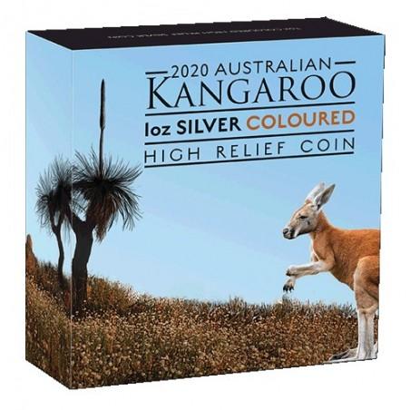 2020 $1 Australian Kangaroo 1oz Silver Coloured High Relief Coin
