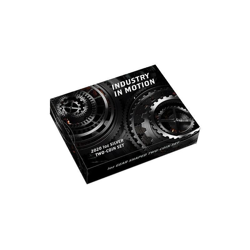 2020 $1 Industry in Motion 1oz Silver Gear-Shaped Antiqued Two-Coin Set
