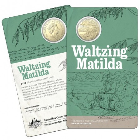 2020 50c Banjo Paterson - Treasured Australian Poetry - Waltzing Matilda Uncirculated Coin In Card