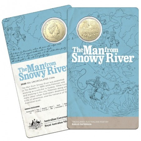 2020 50c Banjo Paterson - Treasured Australian Poetry - The Man From Snowy River  Uncirculated Coin In Card