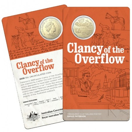 2020 50c Banjo Paterson - Treasured Australian Poetry - Clancy of the Overflow Uncirculated Coin In Card