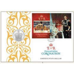 2013 GB £5 Diamond Jubilee Coronation Limited Edition Coin & Stamp Cover PNC