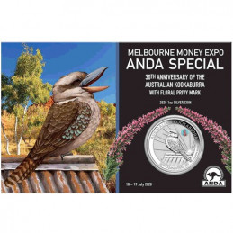 2020 $1 Melbourne Money Expo ANDA Special 30th Anniversary Kookaburra 1oz Silver Coin Common Heath Privy Mark