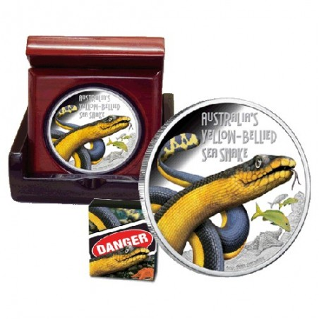 2013 $1 Deadly & Dangerous Series - Yellow Bellied Sea Snake 1oz Silver Proof Coin