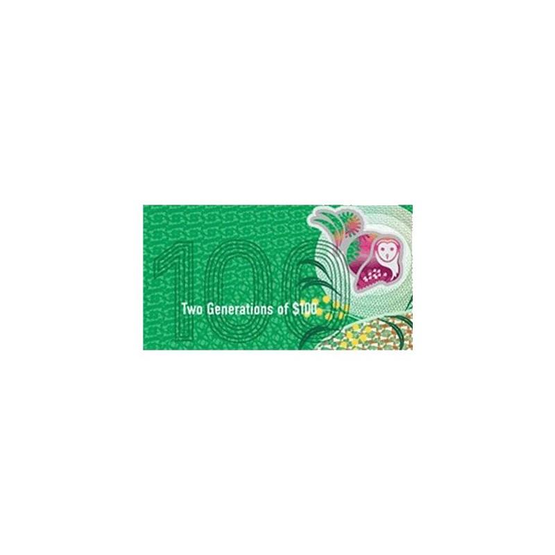 2020 $100 RBA Folder Two Generation Unc Banknote