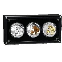 2021 $1 Australian Lunar Series III Year of the Ox 1oz Silver Trio Set
