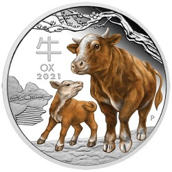 2021 $1 Australian Lunar Series III Year of the Ox 1oz Silver Proof Coloured Coin