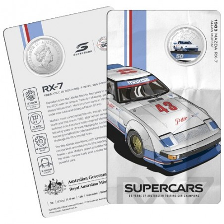 2020 50c 60 Years of the Australian Supercars 1960/2020 Mazda RX-7 Unc Coin