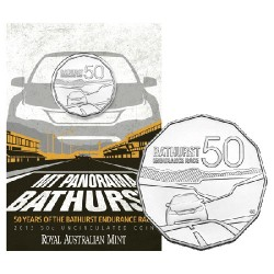 2013 50c 50 Years of Bathurst Coin in Card