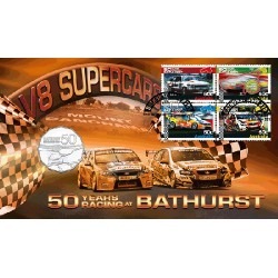 2013 50c 50 Years of Bathurst Coin & Stamp Cover PNC