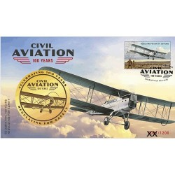 2020 Civil Aviation 100 Years Limited Edition Medallion & Stamp Cover PNC