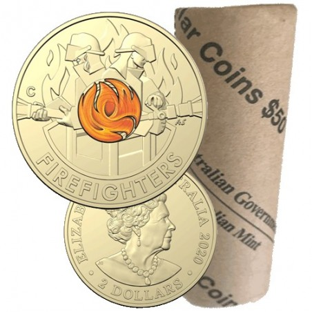 2020 $2 Australia's Firefighters  Al/Br Coloured Circulating Mint Roll