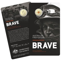 2020 $2 Australia's Firefighters  Al/Br C Mintmark Coloured Coin in RAM Card