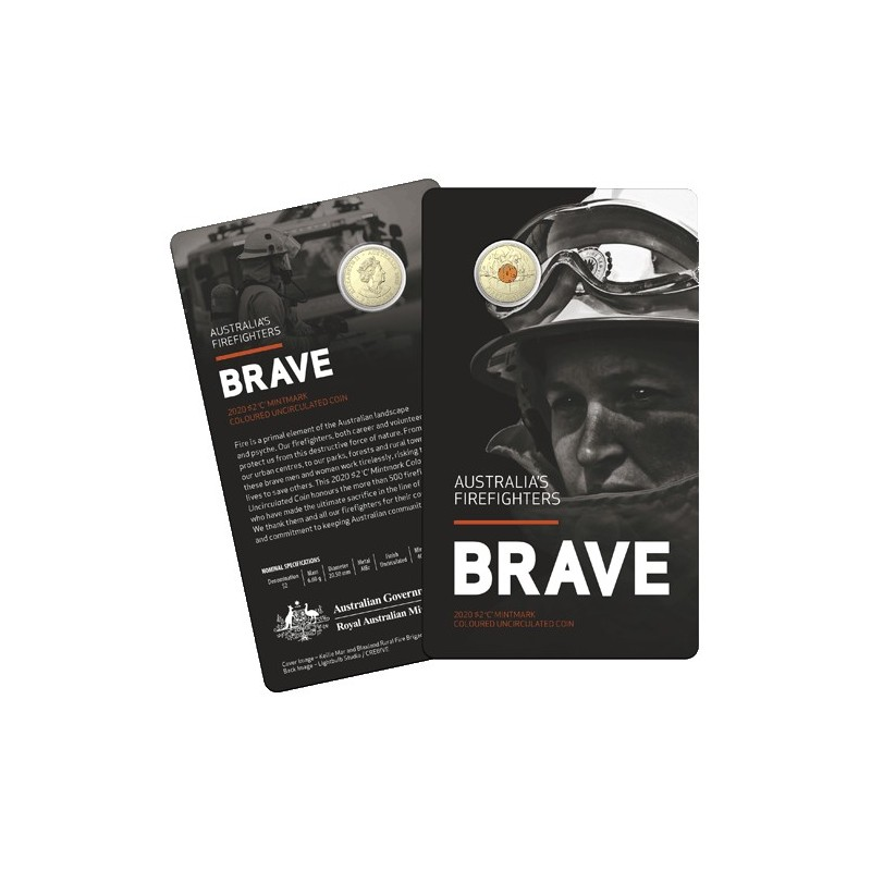 2020 $2 Australia's Firefighters  Al/Br C Mintmark Coloured Coin in RAM Card