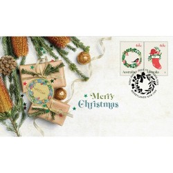 2020 $1 Merry Christmas Wreath Coin & Stamp Cover PNC