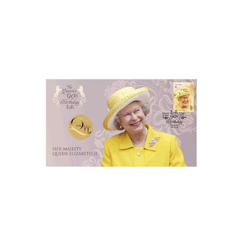 2016 $1 H.M. Queen Elizabeth II 90th Birthday Coin & Stamp Cover PNC