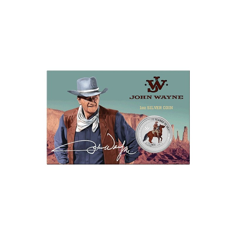 2021 $1 John Wayne 1oz Silver Coloured Coin in Card