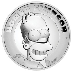 2021 $2 Homer Simpson 2oz Silver Proof High Relief Coin