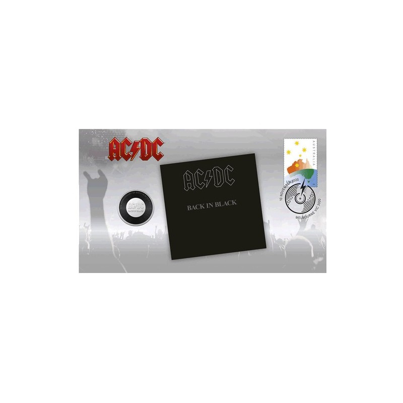 2020 20c AC/DC Back in Black & Stamp Cover PNC