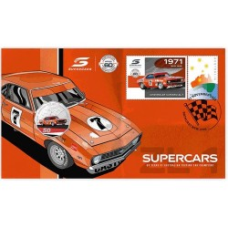 2020 50c Supercars Chevrolet Coin & Stamp Cover PNC