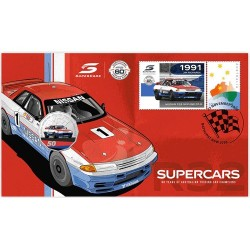 2020 50c Supercars 1991 Nissan Skyline R32 GT-R Coin & Stamp Cover PNC