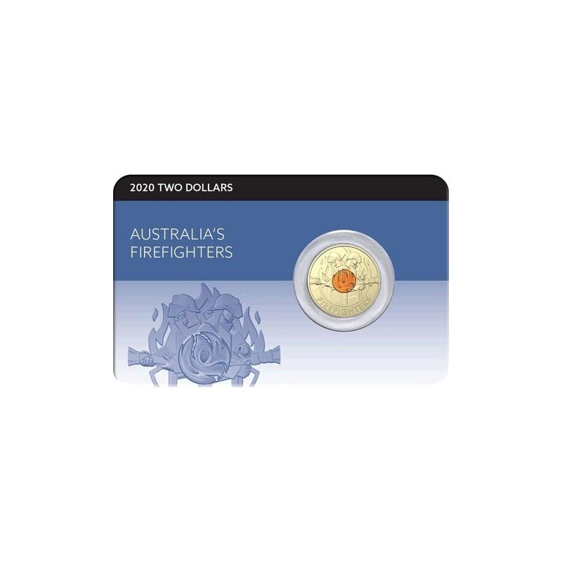 2020 $2 Australia's Firefighters  Al/Br Coloured Coin in RAM Card