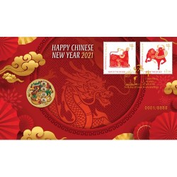 2021 $1 Chinese New Year Coin & Stamp Cover PNC