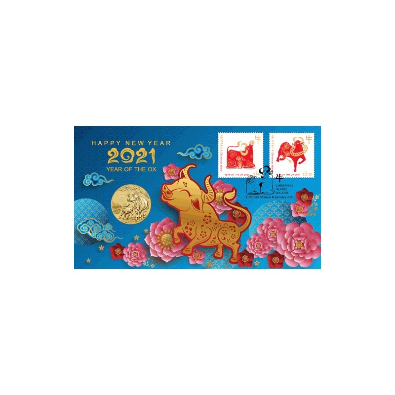 2021 $1 Year of the Ox Coin & Stamp Cover PNC