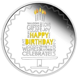2021 $1 Happy Birthday 1oz Silver Proof Coloured Coin