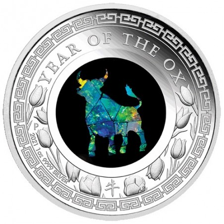 2021 $1 Australian Opal Lunar Series Year of the Ox 1oz Silver Proof Coin