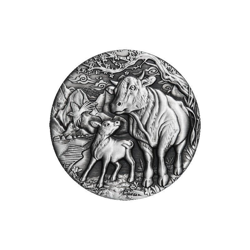 2021 $2 Year of the Ox Lunar Series III 2oz Silver Antiqued Coin
