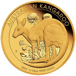 2021 $15 Australian Kangaroo 1/10oz Gold Proof Coin