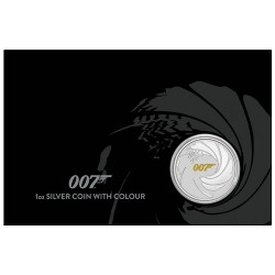 2021 $1 James Bond 007 1oz Silver Coin with Colour in Card