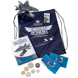 2021 RAAF Heroes of the Sky Zoom Bag, Coin Set, Centenary Token & F35 Plane Model