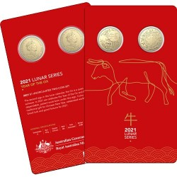 2021 $1 Year of the Ox Al/Br Uncirculated Two Coin Set