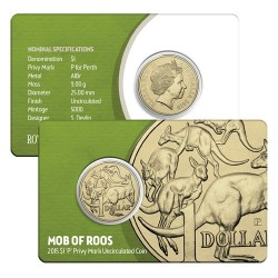2015 $1 Mob of Roos P Privy Mark Perth ANDA Show Coin in Card