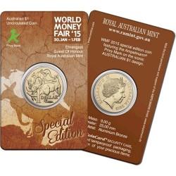 2015 $1 Mob of Roos World Money Fair Ampelmann  Privy Mark Unc Coin in Card