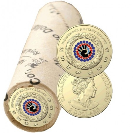 2021 $2 Indigenous Service  Al/Br Coloured Circulating Coin Mint Roll