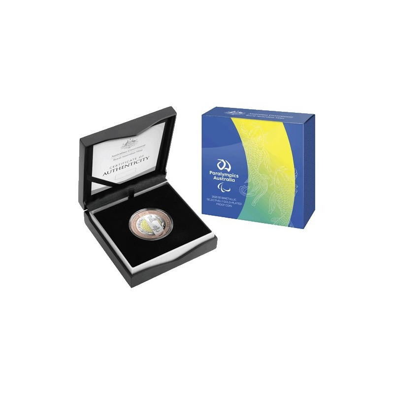 2020 $5 Australian Paralympic Team Bi-Metallic Selectively Gold Plated Coin