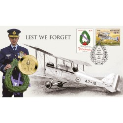 2021 $1 Lest We Forget ANZAC Day Coin & Stamp Cover PNC