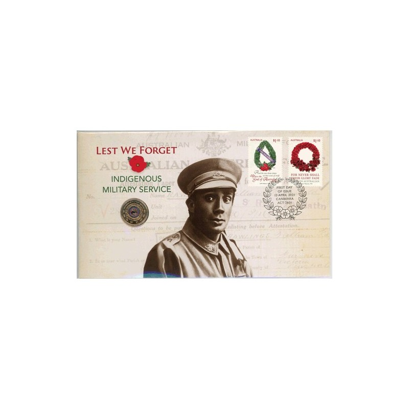 2021 $2 Lest We Forget Indigenous Military Service Coin & Stamp Cover PNC