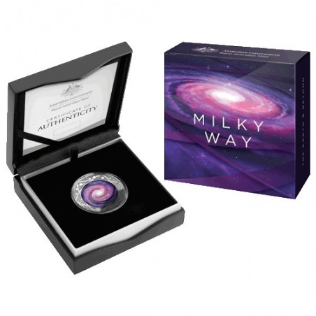 2021 $5 The Earth and Beyond - The Milky Way Coloured Fine Silver Proof Domed Coin