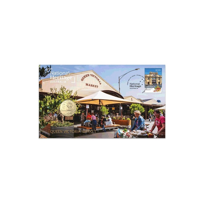 2021 $1 National Heritage Australia - Queen Victoria Market Coin & Stamp Cover PNC