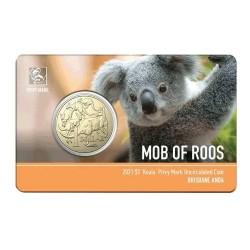 2021 $1 ANDA Brisbane Money Expo Mob of Roos Koala Privymark Unc Coin