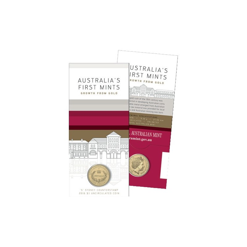 2016 $1 Australia's First Mints S Sydney Counterstamp Unc Coin in Card