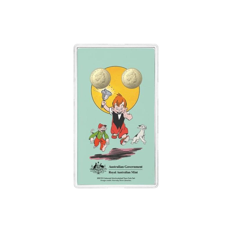 2021 $1 Centenary of Ginger Meggs Coloured Aluminium Bronze 2 Coin Uncirculated Set