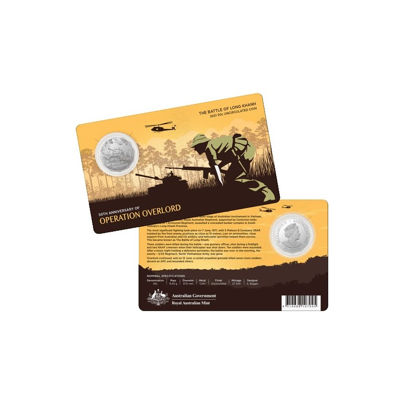 2016 $5 50th Anniversary of The Battle of Long Tan Uncirculated Coin