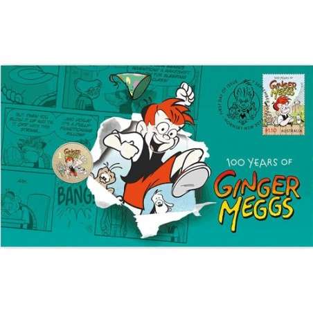 2021 $1 100 Years of Ginger Meggs Coin & Stamp Cover PNC 1